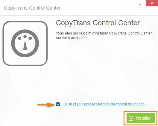 Accepter les termes du contrat de licence CopyTrans