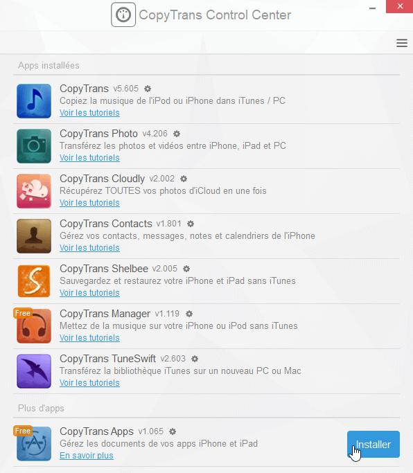 Installer l'application CopyTrans dans Control Center