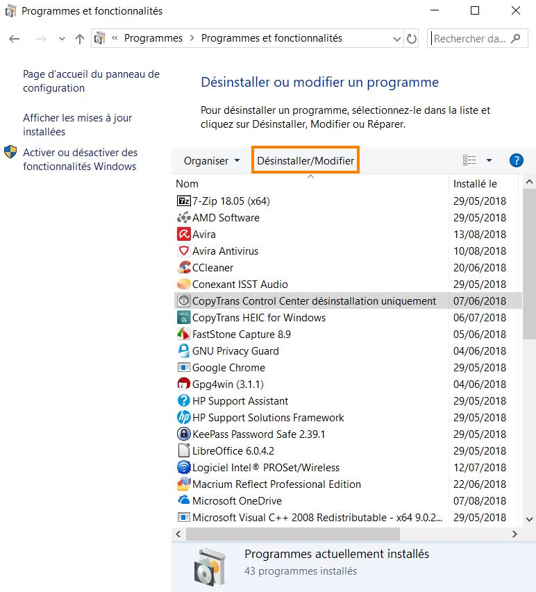 L'onglet programmes et fonctionnalités de windows 10
