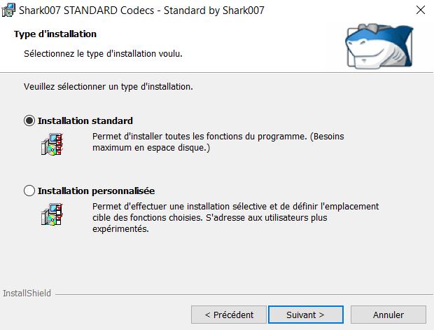 Choisir l'installation standard