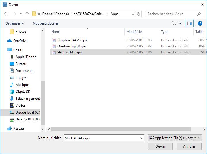 Fichiers ipa