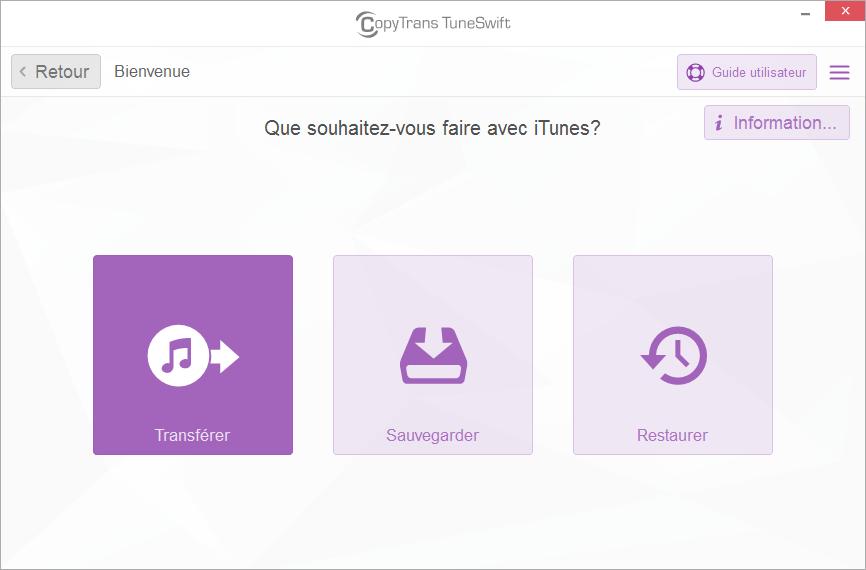 Transférer la bibliothèque iTunes