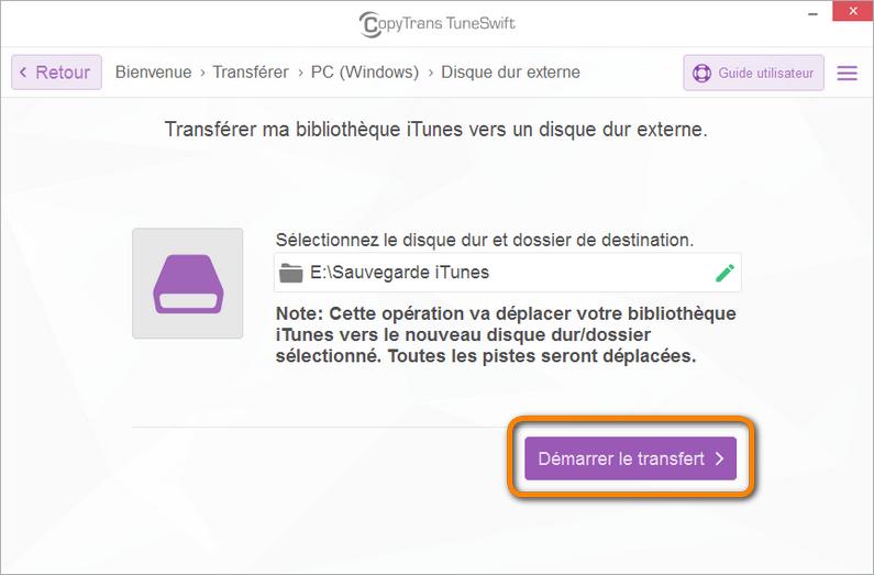 Démarrer le transfert de la bibliothèque iTunes