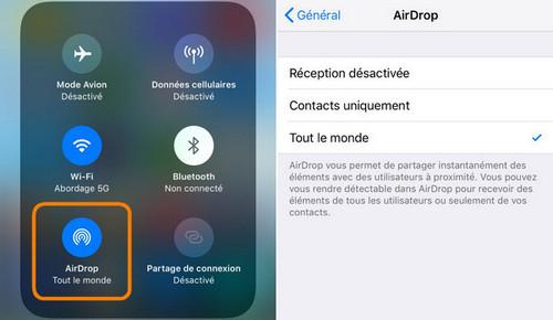 Activer Airdrop sur iPhone