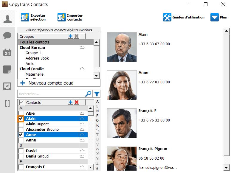 Selectionner des contacts à supprimer