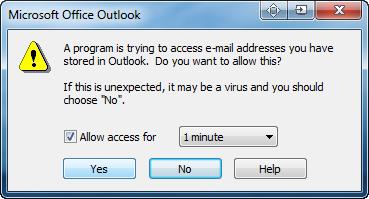 Si vous recevez le message d avertissement cochez la case Autoriser l acces pour, selectionnez 1 minute