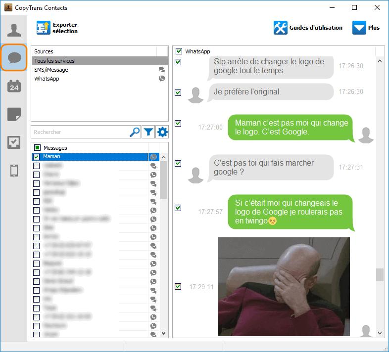 Messages iPhone sur CopyTrans Contacts