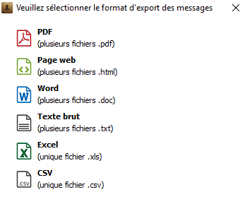 Format export messages iPhone sur PC