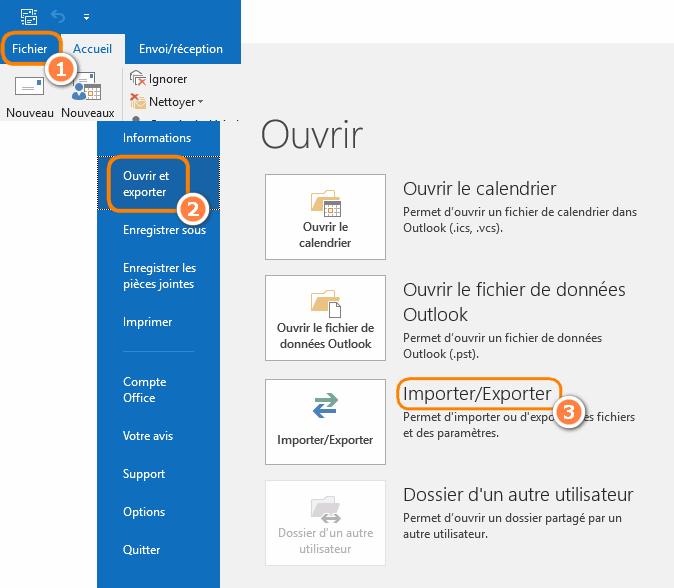 Exporter un fichier CSV Outlook