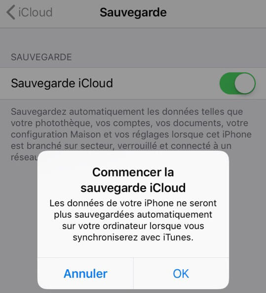 Activer sauvegarde iCloud