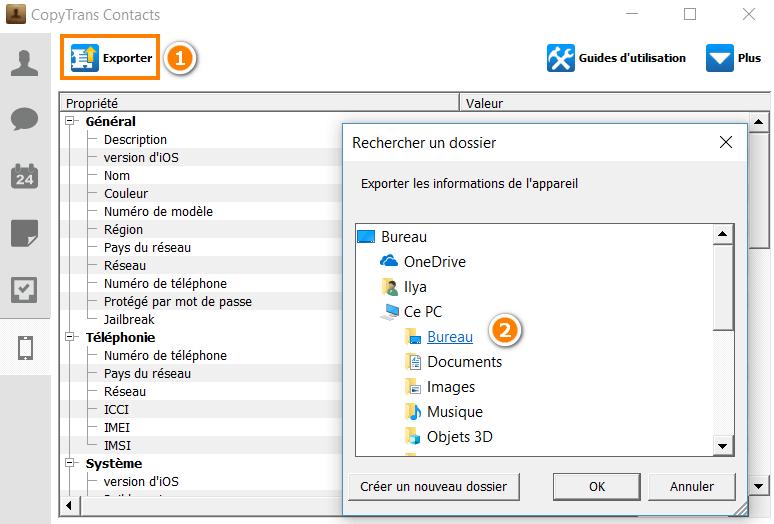 Exporter les données à propos de votre iPhone sur le PC