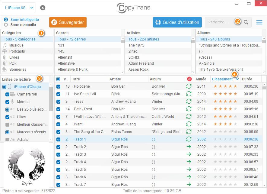 explorer la bibliothèque musicale iPhone depuis CopyTrans