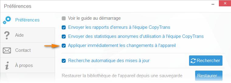 appliquer automatiquement les changements dans CopyTrans Manager
