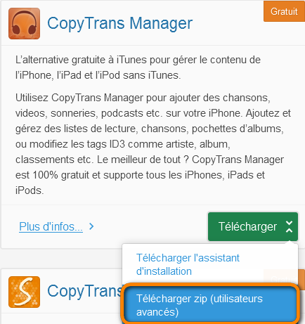 Télécharger une version .zip de CopyTrans Manager