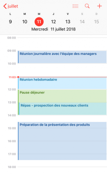 agenda de la journée iPhone