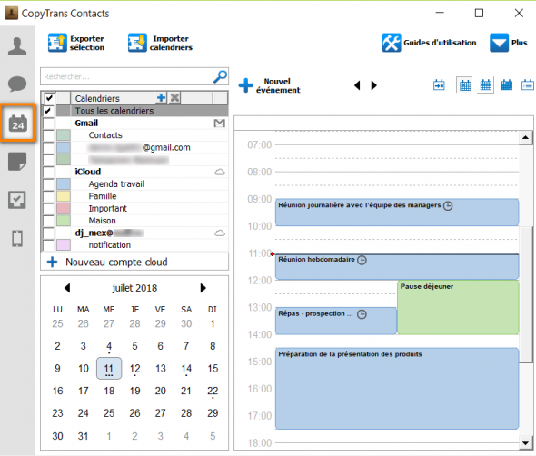 Gestion des calendriers iPhone