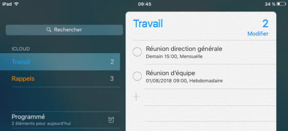 rappels iCloud sur iPad