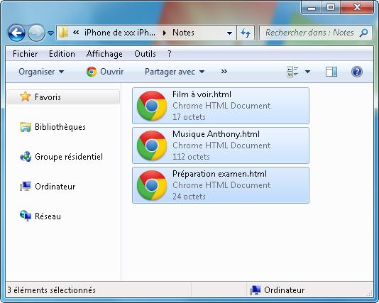 transférer notes gmail pc