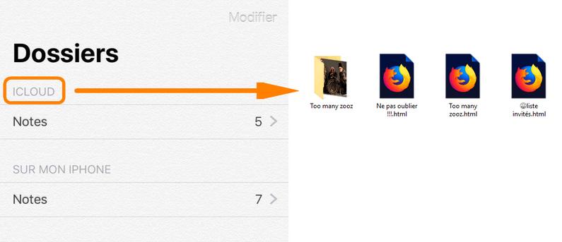 Transférer notes iCloud vers le PC
