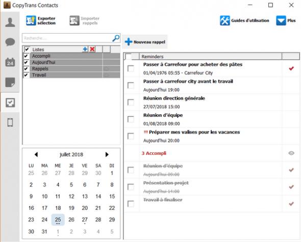 gestion des rappels avec copytrans contacts