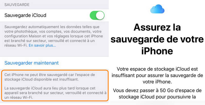 Espace iCloud insuffisant