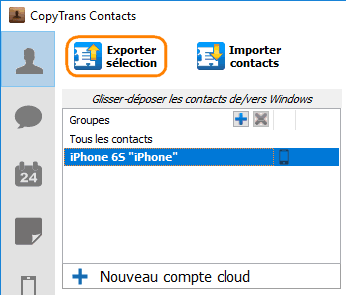 Exporter contacts iPhone vers pc