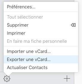 Exporter vCard