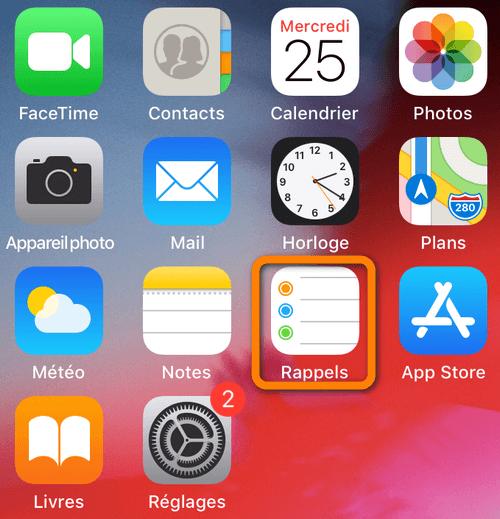 application Rappels sur l'iPhone