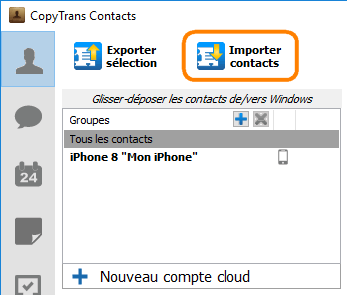 Bouton importer contacts