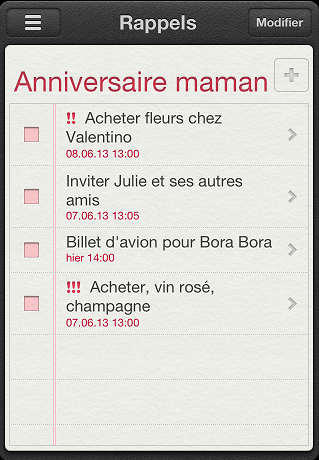 rappels de l'iphone