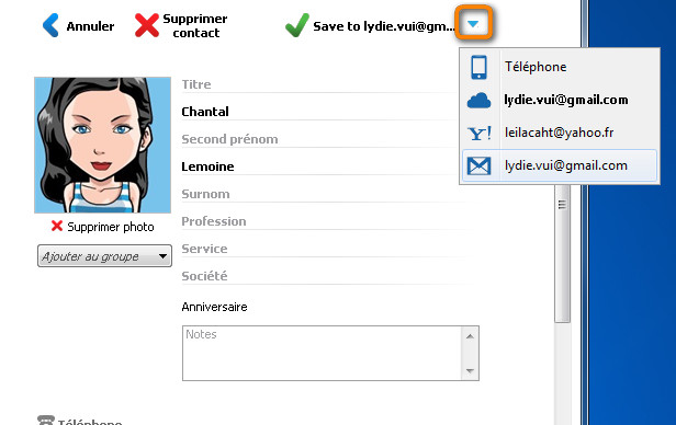 sauvegarder icloud, gmail, yahoo
