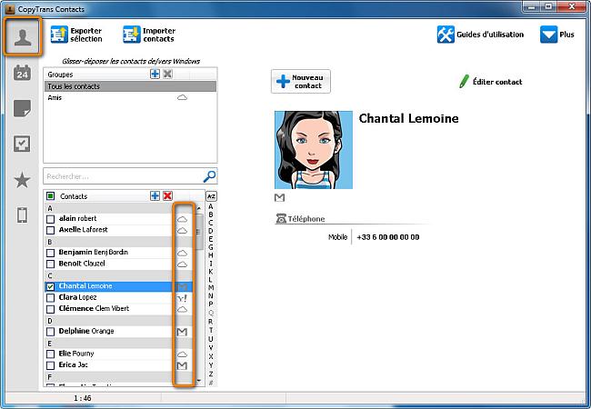 modifier contacts cloud
