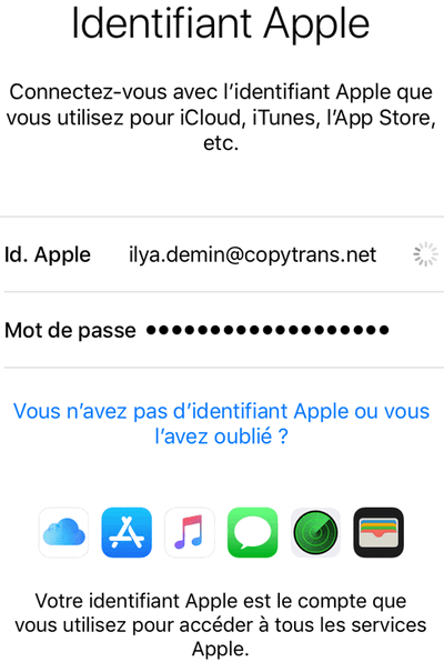 Activation du compte iCloud sur iPhone