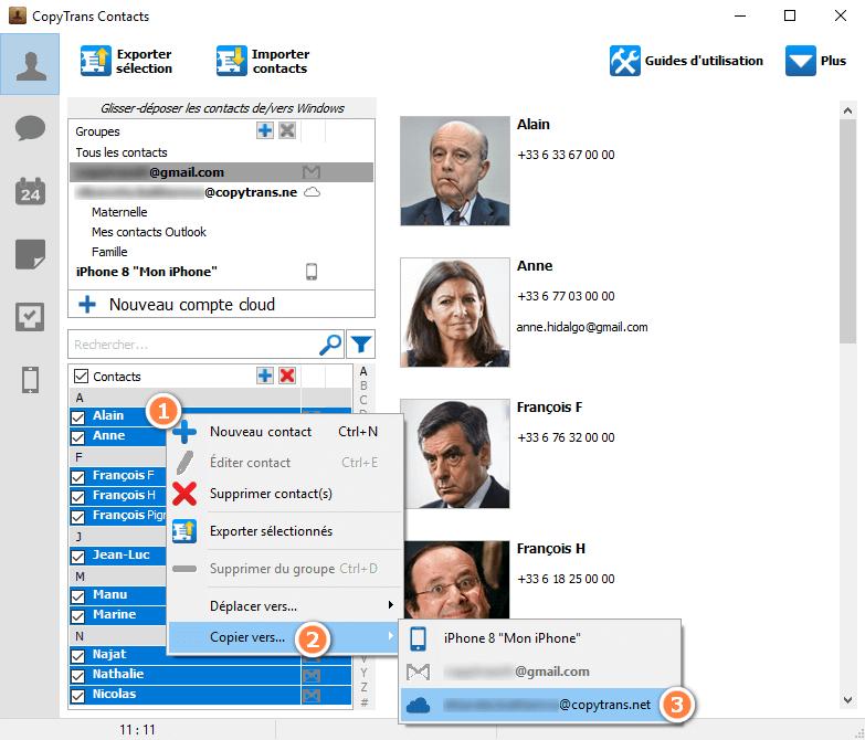 Copier les contacts Outlook dans iCloud