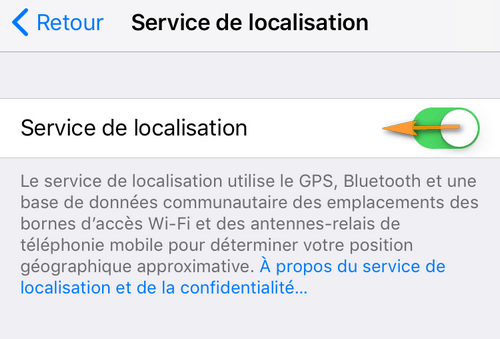 Service localisation iPhone