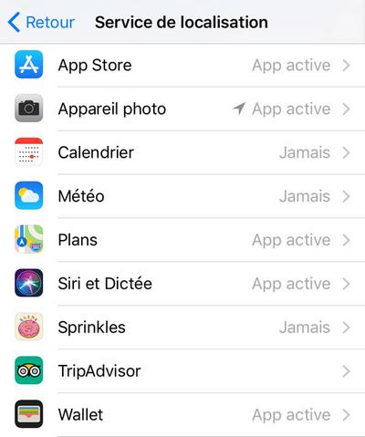 Réglage iPhone localisation des apps