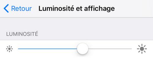 Réglages de la luminosité iPhone