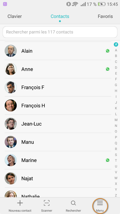 menu dans contacts android