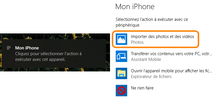 Importer photos iPhone avec Windows
