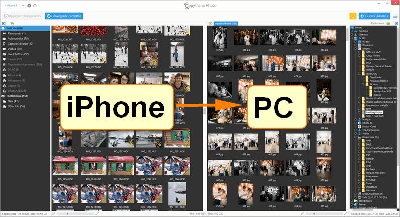 Transférer photos iPhone sur PC