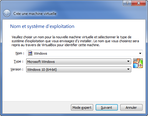 Nouvelle machine virtuelle Windows