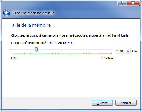 accorder la taille de mémoire à la machine virtuelle