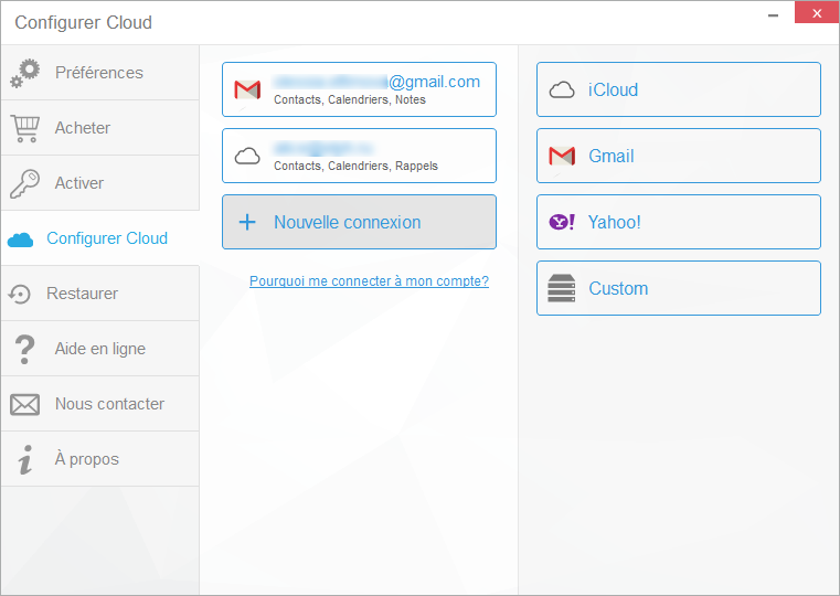 connecter compte cloud dans CopyTrans Contacts