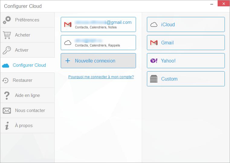 connecter compte cloud dans CopyTrans Contacts