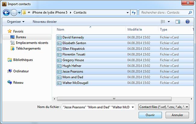 importer contacts depuis pc