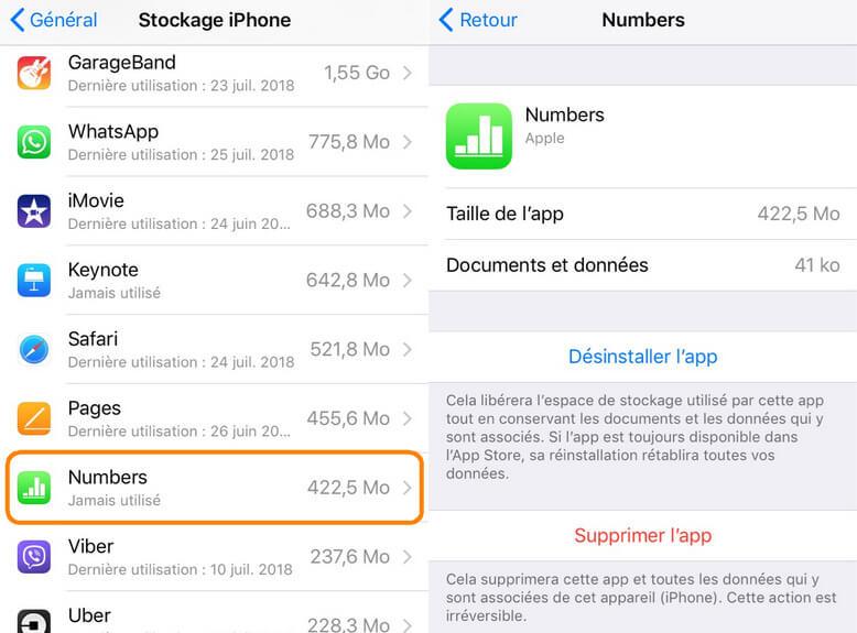 Supprimer app iPhone