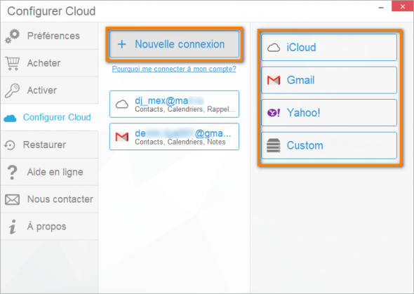 Configuration des comptes cloud dans CopyTrans Contacts