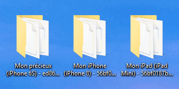 Plusieurs iPhone sauvegardés sur PC