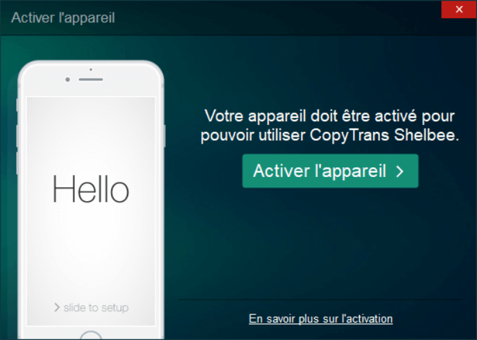 Actier iPhone avec CopyTrans Shelbee