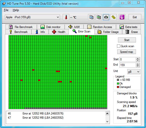 Regardez les résultats après l'analyse par HD Tune